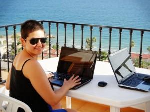 Diana in her new office in Santa Pola