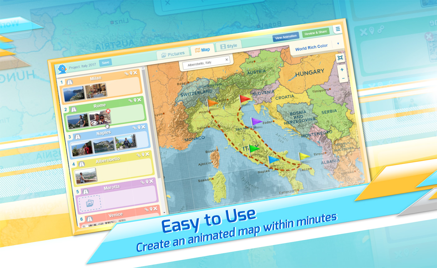 interactive animated travel maps created with pictramap